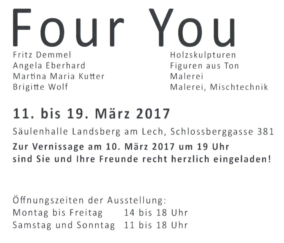 """Ausstellung """"Four You"""" in Landsberg"""