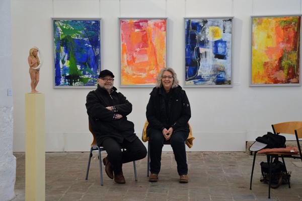 Vernissage von Brigitte Wolf in der Säulenhalle in Landsberg, am 10. März 2017